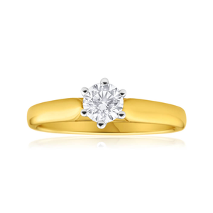 18ct Yellow Gold & White Gold Solitaire Ring With 0.5 Carat 6 Claw Set Diamond