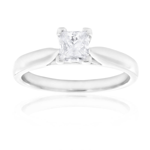 18ct White Gold Solitaire Ring With 0.5 Carat Certified Diamond