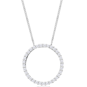 9ct Gorgeous White Gold  Circle of Life 1/4 Carat Diamond Pendant With Chain