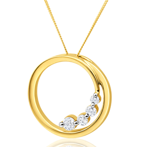 Flawless Cut 9ct Yellow Gold Diamond Open Circle Pendant With Chain (TW=25-29pt)