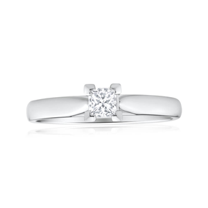 18ct White Gold Solitaire Ring With 0.3 Carat Diamond