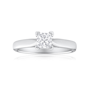 18ct White Gold Solitaire Ring With 0.7 Carat Diamond