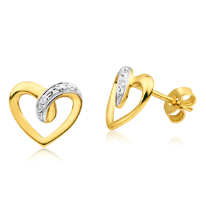 9ct Yellow Gold Classic Diamond Stud Earrings