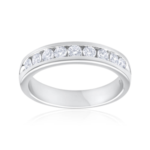 Flawless Cut 18ct White Gold Diamond Ring With 9 Diamonds (TW=1/2 Carat)