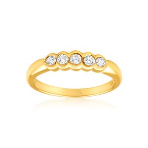 9ct Yellow Gold Diamond Ring Set with 5 Brilliant Diamonds