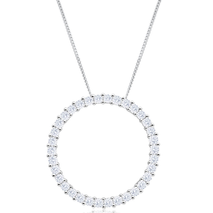 9ct White Gold Circle Of Life Diamond Pendant With Chain
