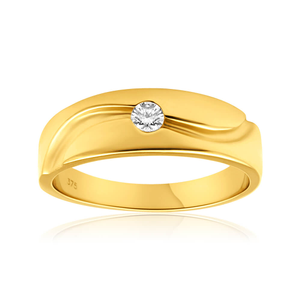 9ct Yellow Gold Gents Diamond Ring