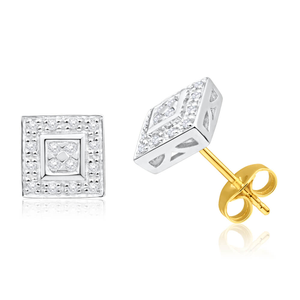 9ct Yellow Gold Stylish Diamond Stud Earrings
