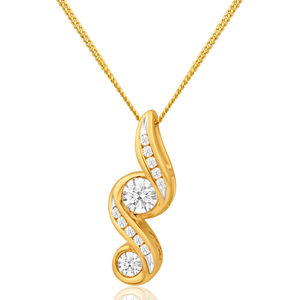 Flawless Cut 9ct Yellow Gold Diamond Forever Pendant With Chain (TW=1/4 Carats)
