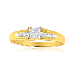 9ct Yellow Gold Ring With 0.25 Carats Of Mixed Cut Diamonds