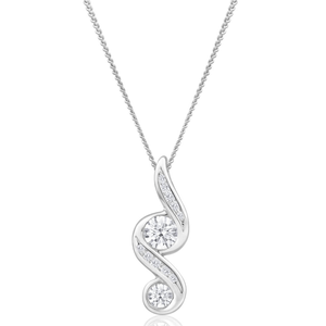 Flawless Cut 9ct White Gold Diamond Forever Pendant With Chain (TW=25pt)