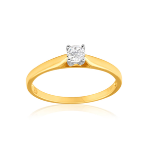 9ct Yellow Gold & White Gold Solitaire Ring With 0.2 Carat Diamond