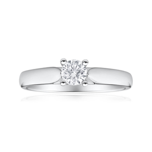 9ct White Gold Solitaire Ring With 0.3 Carat 4 Claw Set Diamond