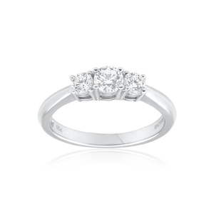 Flawless Cut 18ct Trilogy White Gold Diamond Ring (TW=1/2 Carats)