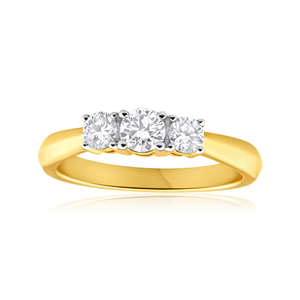 Flawless Cut 18ct Yellow Gold Trilogy Diamond Ring (TW=55pt)