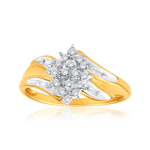 9ct Yellow Gold Diamond Ring Set With 16 Brilliant Cut Diamonds