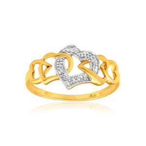 9ct Yellow Gold Heart Shaped Diamond Ring