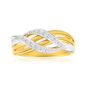 9ct Yellow Gold & White Gold Diamond Ring