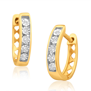 9ct Yellow Gold Sublime Diamond Hoop Earrings