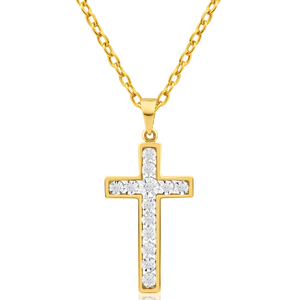 9ct Yellow Gold Diamond Cross Pendant