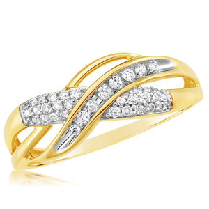 9ct Yellow Gold Diamond Ring Set With 35 Diamonds
