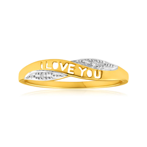 "9ct Yellow Gold ""I Love You"" Diamond Ring"