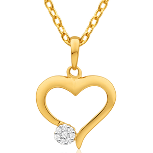 9ct Superb Yellow Gold Diamond Pendant