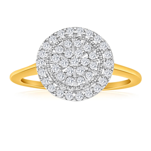 9ct Yellow Gold Diamond Ring Set With 41 Diamonds