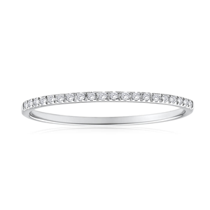 9ct White Gold Ring Channel Set With 20 Diamonds