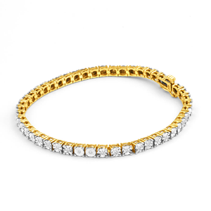 9ct Charming Yellow Gold Diamond 18cm Bracelet