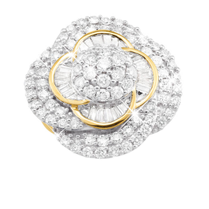 9ct Yellow Gold Diamond Ring Set With 3 Carats of Diamonds