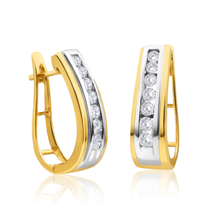 9ct Yellow Gold Lovely Diamond Hoop Earrings