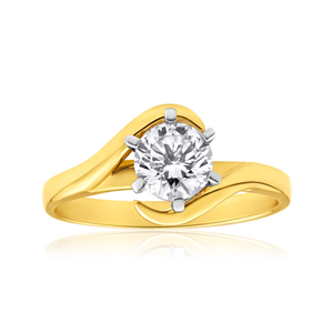 18ct Yellow Gold Solitaire 'Unity Collection' Ring With 1 Carat 6 Claw Set Diamond