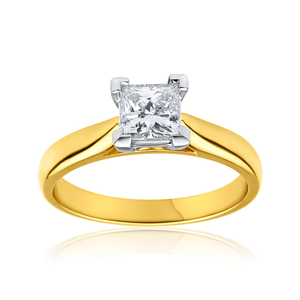 18ct Yellow Gold Solitaire Ring With 0.75 Carat Diamond
