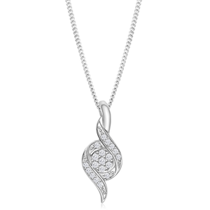 9ct White Gold Dazzling Diamond Pendant