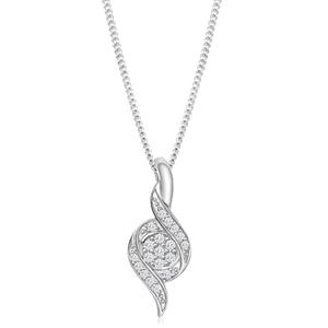 9ct White Gold Dazzling Diamond Pendant