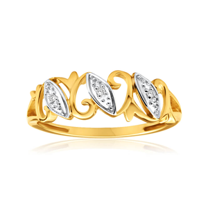 9ct Yellow Gold Diamond Ring Set With Brilliant Cut Diamonds