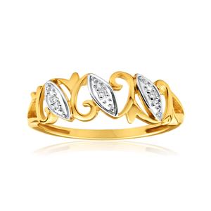 9ct Yellow Gold Diamond Ring Set With Brilliant Cut Diamonds