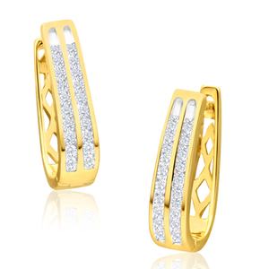 9ct Yellow Gold Divine Diamond Hoop Earrings