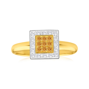Australian Diamond 9ct Yellow Gold Diamond Bead Ring