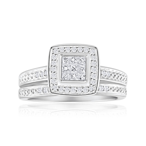 9ct White Gold 2 Ring Bridal Set With 0.3 Carats Of Diamonds
