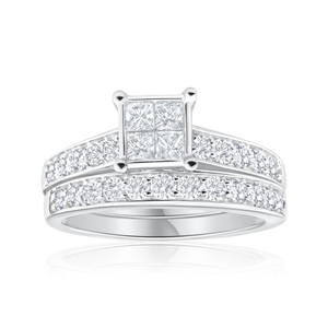 9ct White Gold 2 Ring Bridal Set With 28 Diamonds Totalling 1.5 Carats