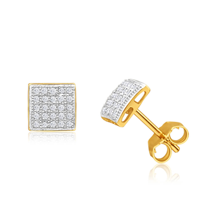 9ct Yellow Gold Magnificent Diamond Stud Earrings