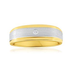9ct Yellow Gold Diamond Mens Ring with White Gold Rhodium