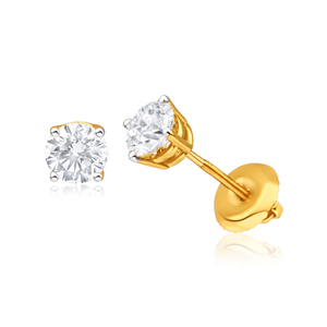 18ct Yellow Gold Stud Earrings With 1 Carat Of Claw Set Diamonds