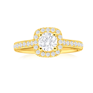 18ct Yellow Gold Ring With 1 Carat Of Diamonds Set With Brilliant Cut Stones