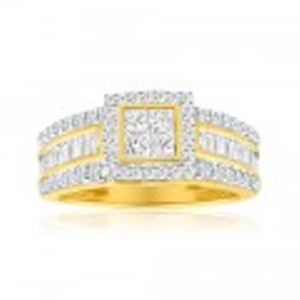 9ct Yellow Gold Diamond Ring Set With 76 Diamonds