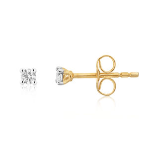 9ct Superb Yellow Gold Diamond Stud Earrings