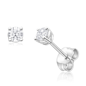 9ct White Gold Diamond Stud Earrings Set With 2 Gorgeous Brilliant Cut Diamonds