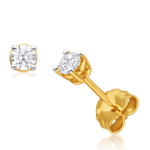 9ct Yellow Gold Diamond Stud Earrings